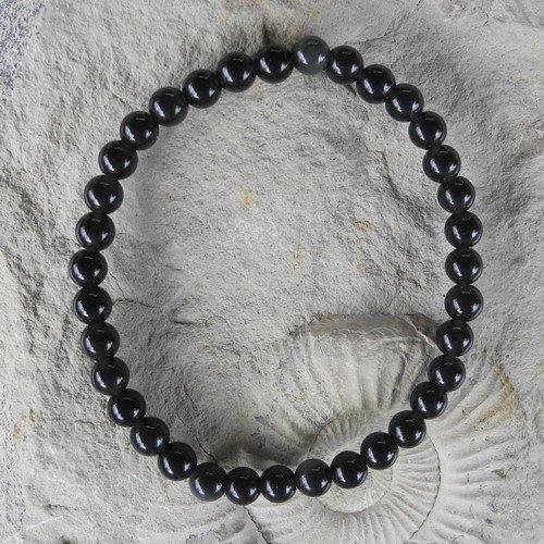 Kinderarmband 4 mm 15 cm schwarzer Obsidian Kugelarmband